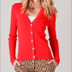 Tory Burch Shrunken Simone Cardigan Sweater Red